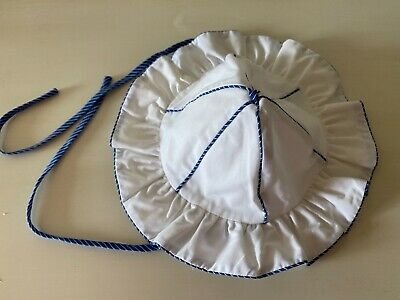 Vintage blue & white retro baby sun hat