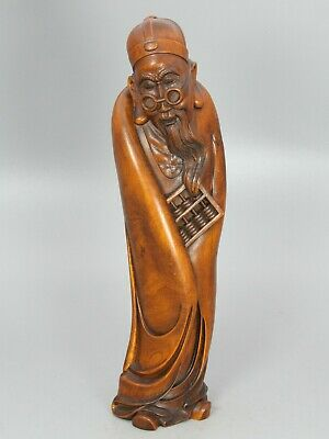 Chinese Exquisite Hand carved Old man Carving Boxwood statue