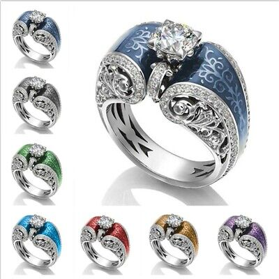 Women 925 Silver Rings Jewelry Wedding Party Ring White Sapphire Size 6-10