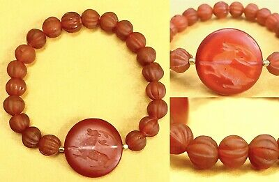 Ancient Sassanian Agate Intaglio Stone With Melon Carnelian 10mm Bead Bracelet