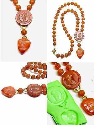 Wonderful Ancient Old Agate Greek King Intaglio Melon Carnelian Beads Necklace
