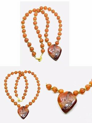Ancient Agate Intaglio Flying Fairly Deer With Old Carnelian Melon Bead Necklace