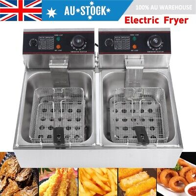12L Commercial Electric Deep Fryer Double Basket Benchtop Cooker Stainless Steel