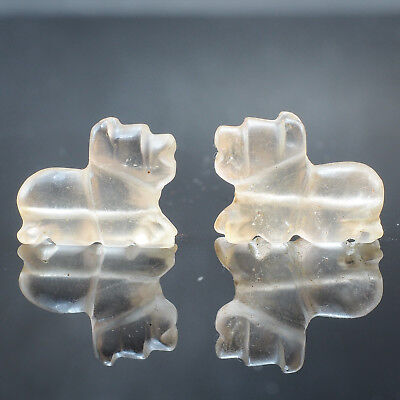 Antique Tribal Pair Of Antique clear Rock Crystal Carved Sphinx Egyptian Beads
