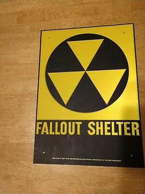 "Vintage 1960's Original FALLOUT SHELTER Reflector Sign 10""x14"" Sci Fi Decor"
