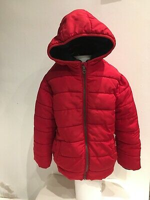 BOYS GIRLS DEBENHAMS BLUE ZOO RED THICK QUILTED HOODED COAT JACKET 5-6 Years