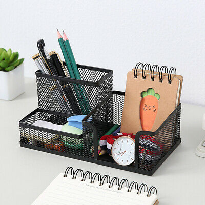 Table Organizer Storage Pen Holder Desk Tidy With 3 Compartments Hollow Basket