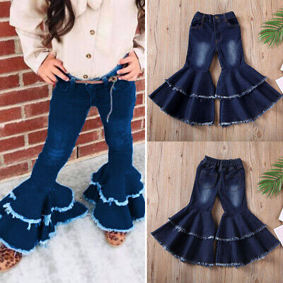 Cute Toddler Kid Baby Girl Bell-Bottoms Pants Denim Wide Leg Jeans Trousers 2-7Y