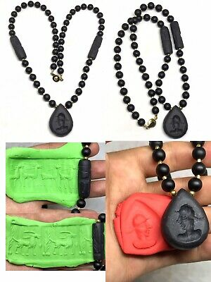 Old Jade Stone Greek King Intaglio Pendant Double Cylinder Seal Bead Necklace