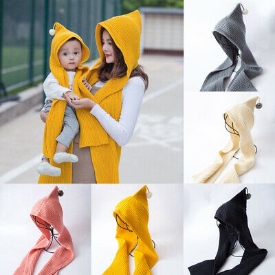 Kids Boys Girls Winter Scarf Kids Pom Baby Scarf Warm Neck Warmer Hooded Scarves