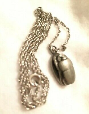 "Antique Egyptian Revival Hieroglyphs Sterling Scarab Beetle Pendant 16"" Chain 5g"