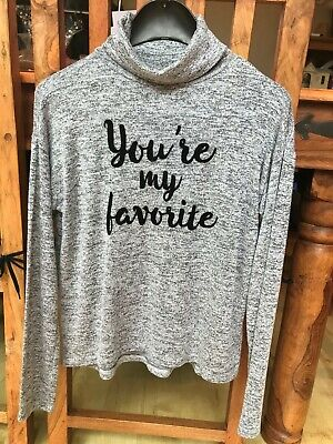 """H&M GIRLS """"YOUR MY FAVOURITE"""" LONG SLEEVED GREY TOP, AGE 10-12 yrs, VGC"""
