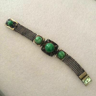 antique Chinese ancient Tibetan silver frog inlaid with green jade bracelet