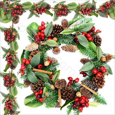 Red Berry Wreath Pine Cone Garland Gisela Graham Christmas Hanging Decorations