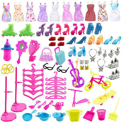 For Barbie Doll Dresses, Shoes and jewellery Clothes Accessories 85pcs/Set