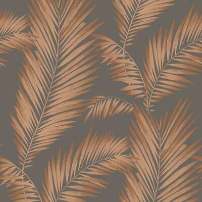 Ardita Copper Wallpaper Palm Leaves Metallic Grey Glitter Tropical Arthouse