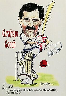 Graham Gooch HAND SIGNED England Cricket Legend Caricature Photograph In Person