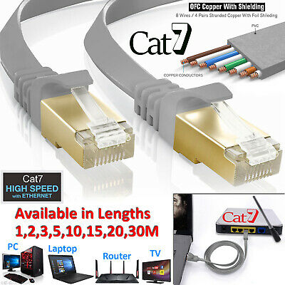 G-Shield® CAT7 Flat Ethernet RJ45 10Gbps Ultra-Thin LAN Network Patch Cable LOT