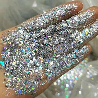 Holo Silver Face Glitter holographic Star Chunky Festival Club Mix Eye Body pot