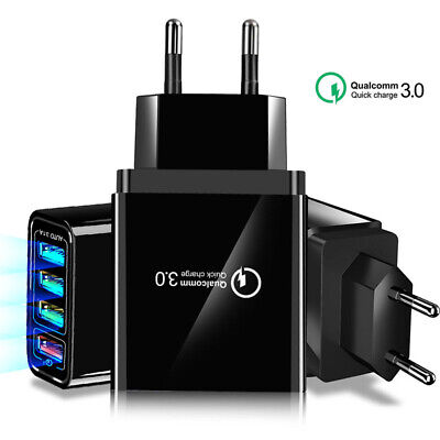 4 Multi-Ports Fast Quick Charge QC 3.0 USB Hub Wall Charger Adapter US EU Plug