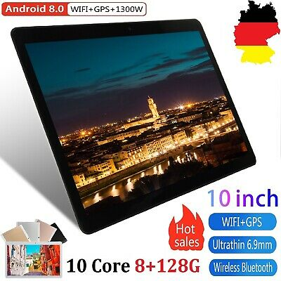 10.1'' Tablet PC 8+128GB Android 8.0 10 Core Wifi GPS Kamera Call Tablette DE