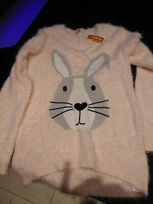 New - Bluezoo Girls Pink Rabbit Fluffy Soft Jumper 12 - 13 years (158cm)