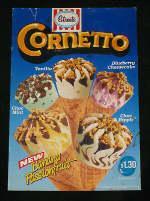 Large 1980's Streets Cornetto Ice Cream Advertising Shop Price Card Sign