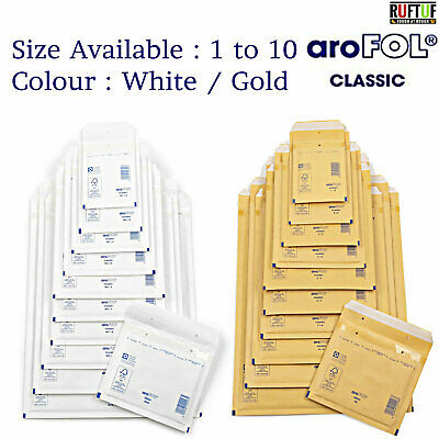 Arofol Genuine Gold White Bubble Padded Envelopes Mailers Bags All Size