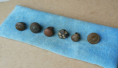 Ancient Viking Lot Of 6 Bronze Buttons With Ornament