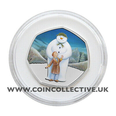 The Snowman 2019 Coloured Decal BU 50p Coin