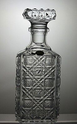 "Pressed Glass Decanter With Stopper 10"" Tall"