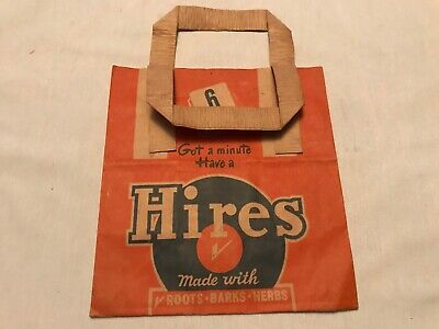 Hire's Root Beer Vintage 6 Pack 1940's Unused Vintage Advertising Bottle Bag
