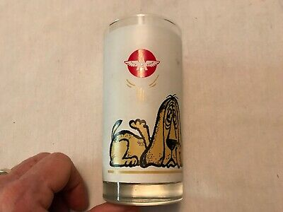 Flying A Vintage Advertising  Glass With Dog