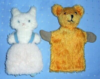 Vintage Mohair Teddy Bear Puppet &  English Alpha Farnell Cat with Bell in Ear