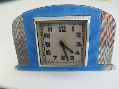 Smiths sterling silver clock 1938 - guilloche - 90 grams of silver in it.