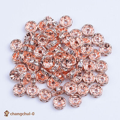 100Pcs Czech Cystal Rhinestone Rose Gold Copper Rondelle Spacer Beads  6mm 8mm