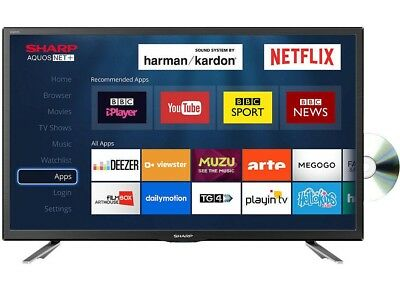 "Sharp LC-24DHG6131KF 24"" Smart 720P HD Ready Freeview LED TV/DVD Combi"