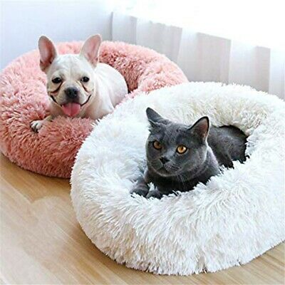 Cat Dog Beds, Soft Plush Donut Pet Winter Warm Sleeping Round Fluffy Pet  Bed