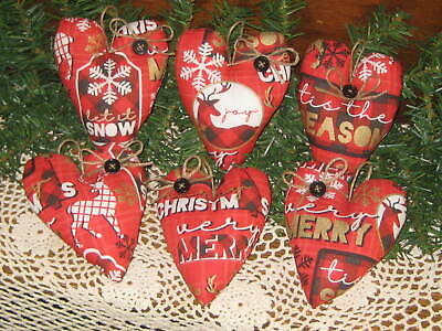 Country Christmas Decor 6 Red Hearts Reindeer Fabric Handmade Tree Ornaments