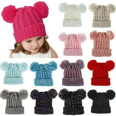 Kids Boys Girls Knitted Cable Cuffed Two Pom Pom Winter Thermal Beanie Hats Cap