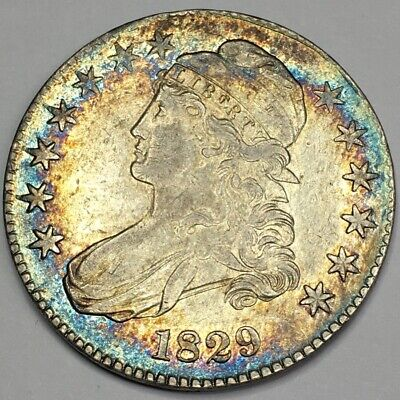 1829 Capped Bust Half Dollar - Rainbow Toning