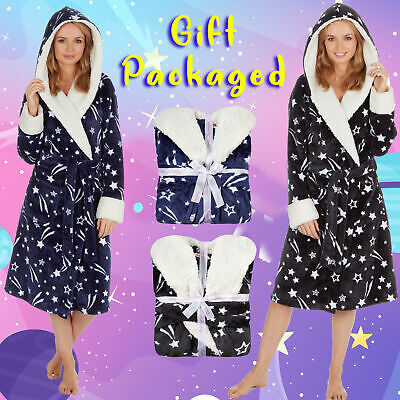 Ladies Womens Stars Hooded Plush Long Dressing Gown Bath Robe Galaxy Cosmos S-XL