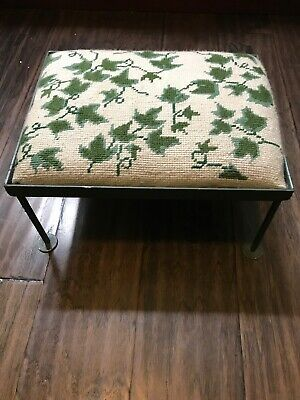 Vintage Needlepoint Ivy Floral Foot Stool Rod Iron