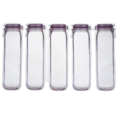 5x Reusable Bags Portable Mason Jar Zipper Bags Seal Food Saver Storage Bag ~JP