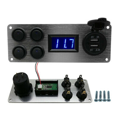 4 Gang ON-OFF Toggle Switch Panel USB 12V for Car SUV Marine RV Truck