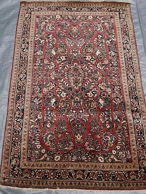 Authentic Saroukk Antique 1920 Hand-Knotted Wool Red Oriental Rug 4 x 6.6 , 4x7