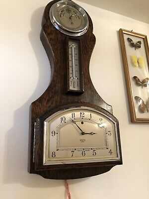 Vintage Art  Deco Clock, Barometer & Thermo. Smith Sectric Electric Wall Clock.