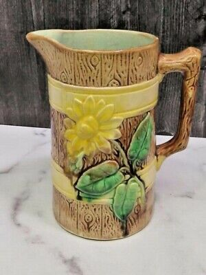 19th C Victorian Majolica Pitcher Brown Knotty Wood Yellow Band Sunflower Daisy