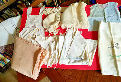 MIXED LOT: 35 Vintage Baby Clothes Blankets Cap Booties Sheet Tops -1940s-1970s