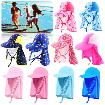 Children Kids Boy Girl Outdoor Neck Cover Sun Protect Camp Swimming Swim Cap Hat